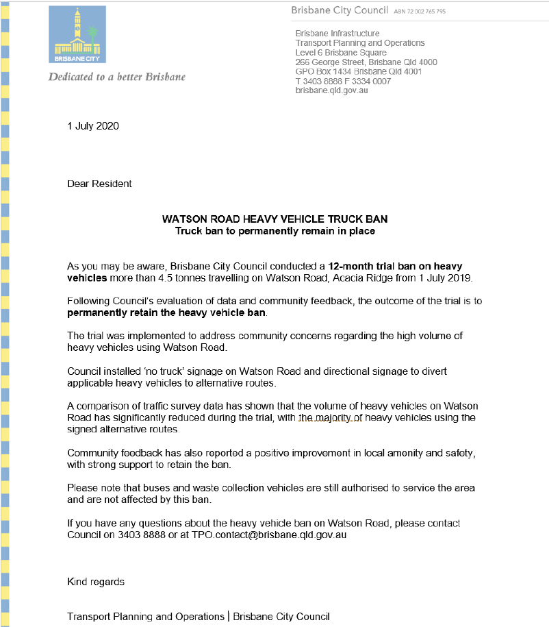 Watson Road Acacia Ridge Heavy Vehicle Ban to remain in place letter to residents